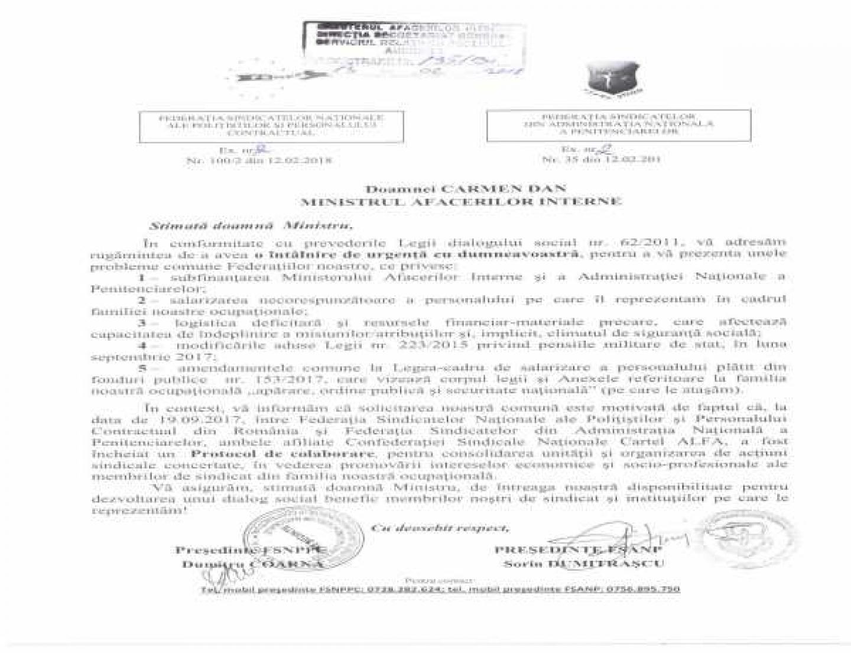 DIALOG SOCIAL - FSNPPC a solicitat  MAI să respecte drepturile angajaţilor şi pensionarilor