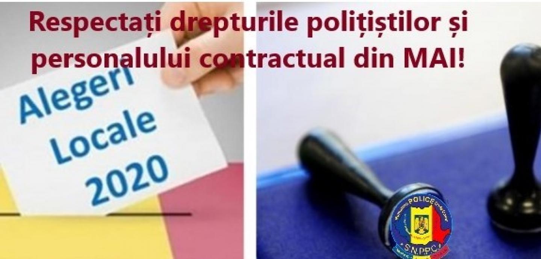 24.09.2020 - Solicitare adresată IGPR/IGPF pentru respectarea drepturilor polițiștilor, cu ocazia alegerilor din 27 septembrie