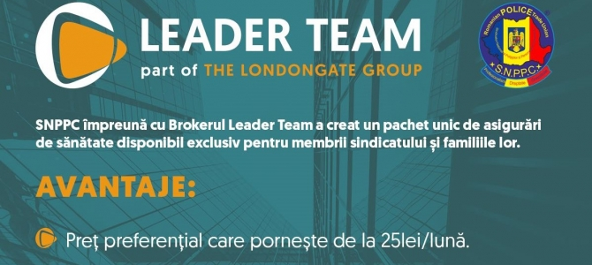 Oferta Leader Team, exclusiv pentru membrii SNPPC&familii, prin Asirom VIG, pentru asigurari de sanatate-viata