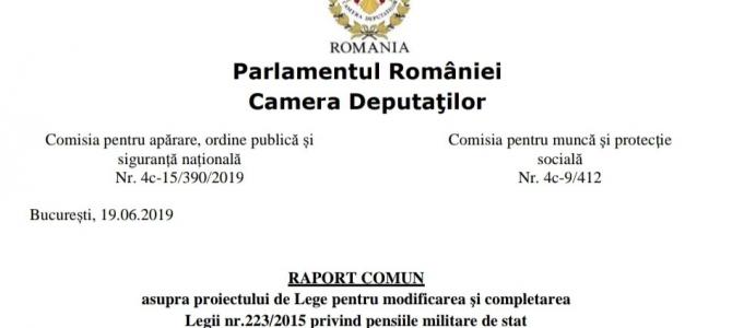 """PRECIZARE: Mâine, 26 iunie, se va adopta (se va supune votului), în Camera Deputaților, Raportul de respingere a Pl-x 265/2019 (proiectul ,,Brăiloiu"""" de modificare a Legii pensiilor militare de stat)"""