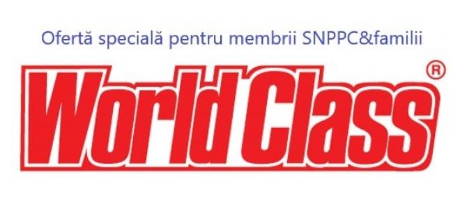 """26.08.2019 -  Parteneriat WORLD CLASS – SNPPC.  Oferta ,,corporate"""", 12+1 lună,  valabilă doar până la 31.08.2019"""