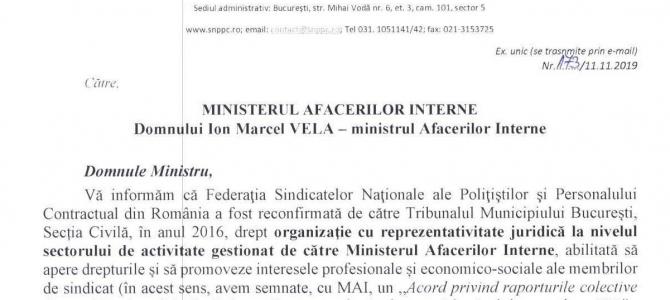 11.11.2019 - Solicitare adresată noului ministru al Afacerilor Interne, în interesul membrilor noștri de sindicat. Vor fi aduse în discuție principalele revendicări FSNPPC