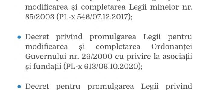 Comunicat 27.11.2020 - A fost promulgatト� Legea de aprobare a OUG 147/2020 modificatト� テョn Parlament pe 12 octombrie 2020