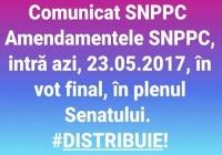 COMUNICAT din 23.05.2017  Senatul dezbate, azi,  proiectul Legii-cadru privind salarizarea Aşteptăm votul final!